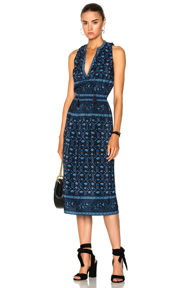 Sea Sleeveless Pintucked Dress in Blue, Floral