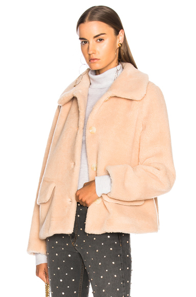 Shrimps Clyde Faux Fur Coat in Neutrals, Pink