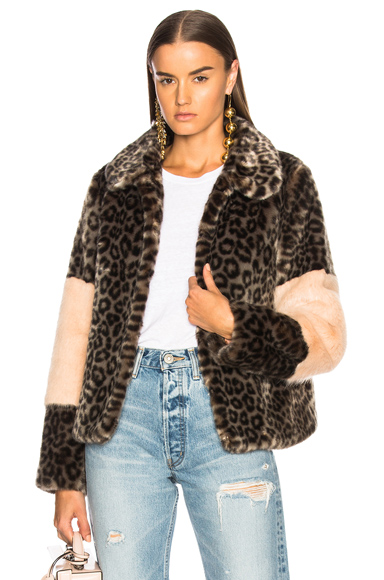 Shrimps Faux Fur Alpin Coat in Gray, Animal Print