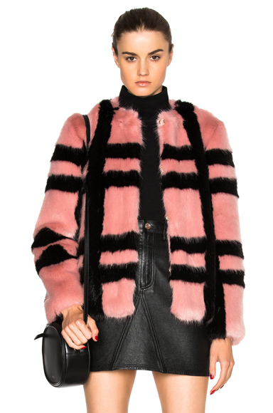 Photo of Shrimps Gustav Faux Fur Coat in Pink, Checkered & Plaid online womens jacket sales