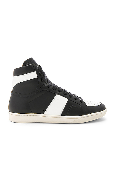Saint Laurent Leather High Top Sneakers in Black. - size 40 (also in 41,41.5,42,42.5,43,43.5,44)