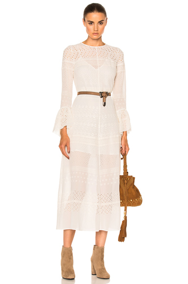 Saint Laurent Embroidered Dress in White