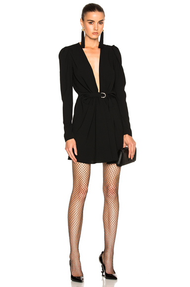 Saint Laurent Plunging Long Sleeve Mini Dress in Black