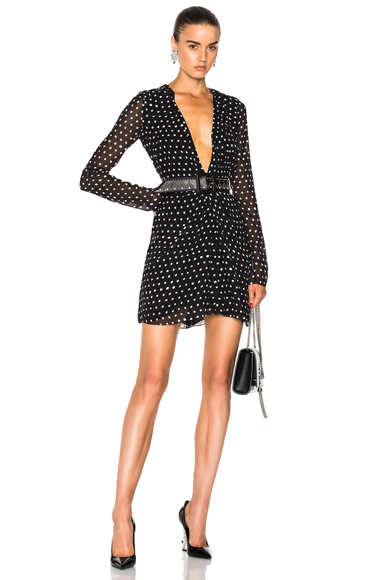 Saint Laurent Plunging Polka Dot Mini Dress in Black, Geometric Print