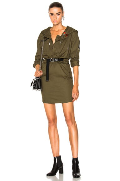 Saint Laurent Hooded Parka Mini Dress in Green