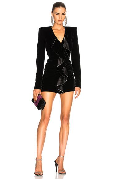 Saint Laurent Velvet Cupro Compact Mini Dress in Black