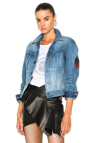 Saint Laurent Patch Denim Jacket in Blue