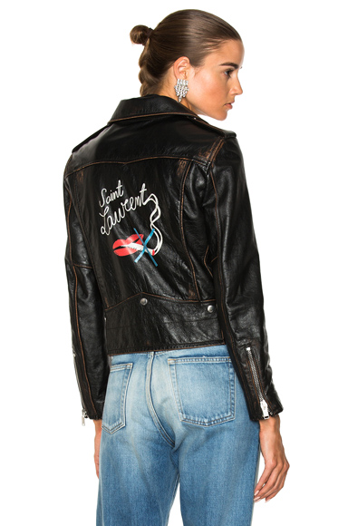 Saint Laurent Smoking Large Lips Motorcycle Jacket in Black