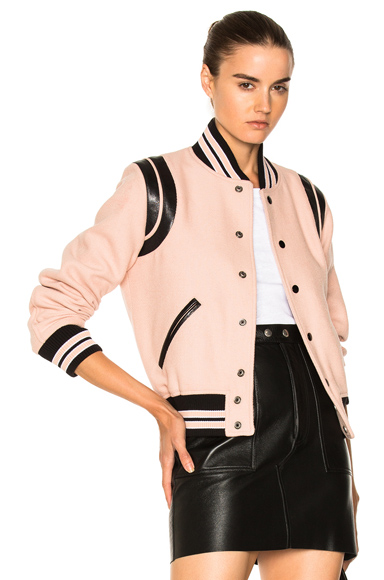 Saint Laurent Teddy Bomber Jacket in Stripes, Pink
