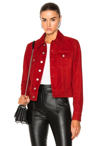 Saint Laurent Suede Moto Jacket in Red