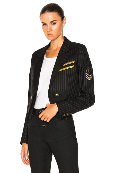 Saint Laurent Pinstripe Military Jacket in Black, Stripes