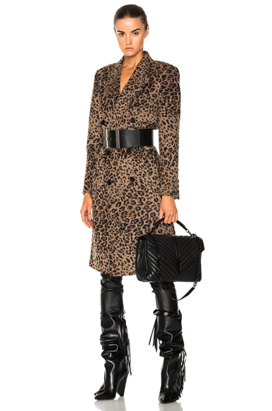 Saint Laurent Cashmere Leopard Print Coat in Animal, Neutrals