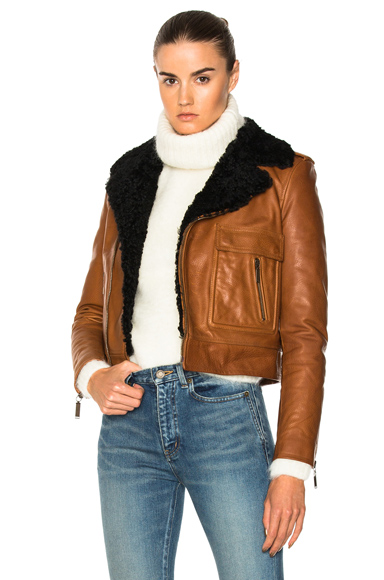 Saint Laurent Lamb Shearling Trim Classic Motorcycle Jacket in Brown, Neutrals
