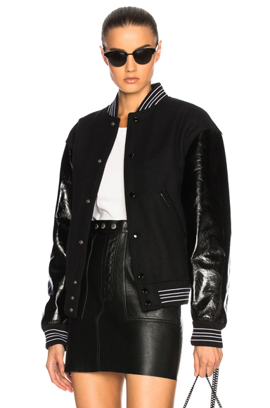 Saint Laurent Leather Sleeve Teddy Bomber Jacket in Black