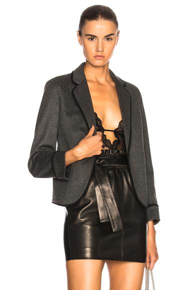 Saint Laurent Flannel One Button Blazer in Gray