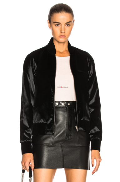 Saint Laurent Velvet Teddy Bomber Jacket in Black