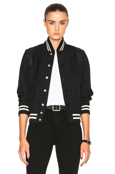 Saint Laurent Teddy Gabardine Bomber Jacket in Black
