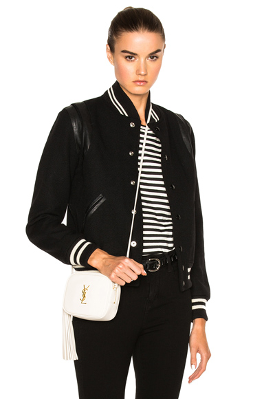 Saint Laurent Classic Teddy Bomber Jacket in Black
