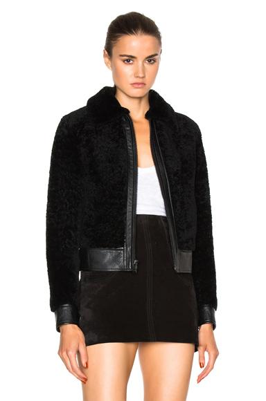 Saint Laurent Lamb Shearling Bomber Jacket in Black
