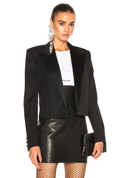 Saint Laurent Satin Lapel Tux Jacket in Black