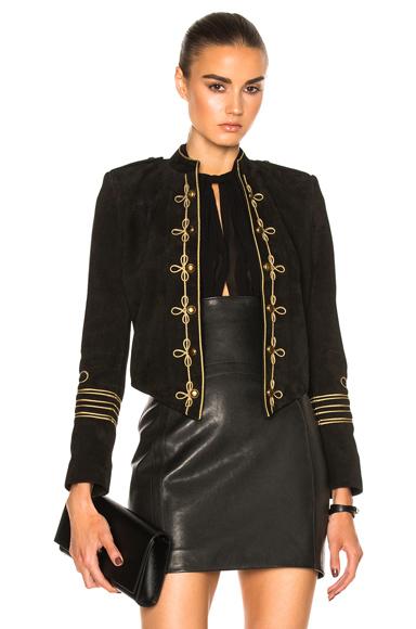 Saint Laurent Suede Officer Jacket in Black