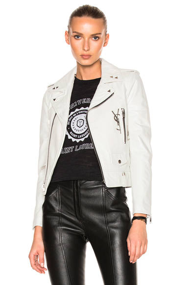 Saint Laurent Leather Jacket with Logo and Brooch in White