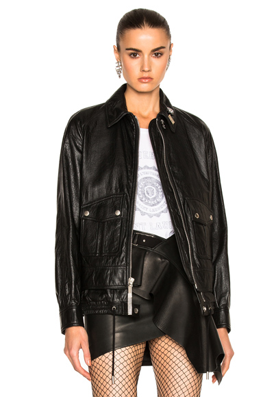 Saint Laurent Leather Bomber Jacket in Black