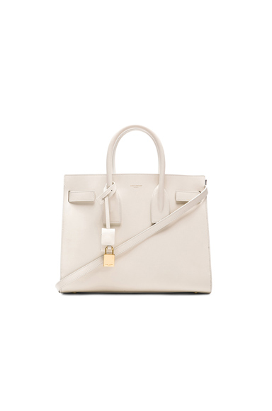 Saint Laurent Small Sac De Jour Carryall Bag in White.