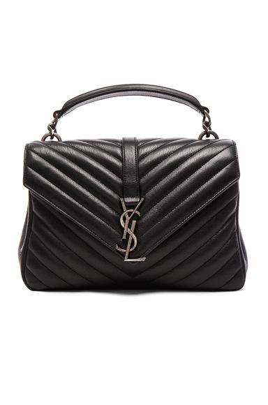 Saint Laurent Medium Monogramme College Bag in Black.