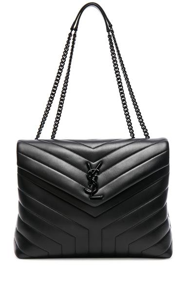 LOULOU MONOGRAM YSL MEDIUM CHAIN BAG WITH BLACK HARDWARE
