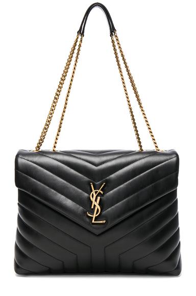 Saint Laurent Medium Supple Monogramme Loulou Chain Bag in Black.