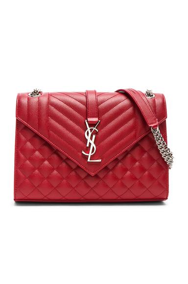 Saint Laurent Medium Monogramme Envelope Chain Bag in Red.