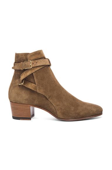 Saint Laurent Suede Blake Buckle Boots in Brown