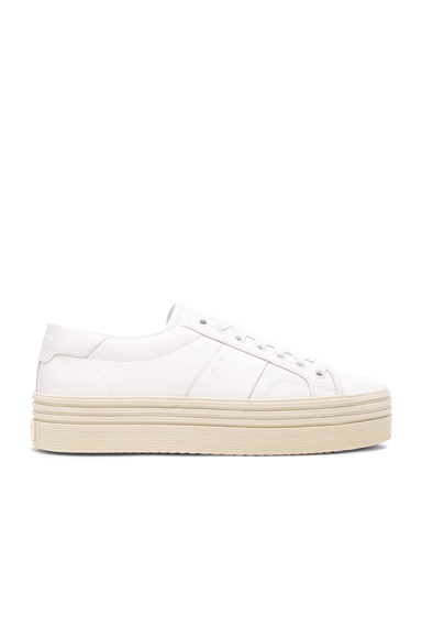 Saint Laurent Leather Court Classic Platform Sneakers in White