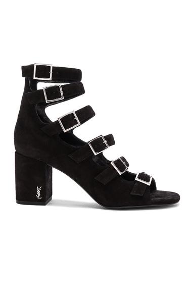 Saint Laurent Suede Babies Buckle Sandals in Black