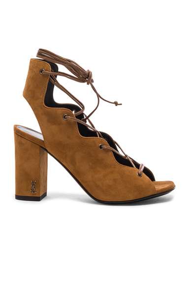 Photo of Saint Laurent Suede Babies Sandals in Brown online womens shoes sales