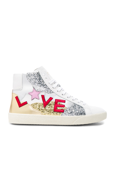 Saint Laurent Leather Love Sneakers in White, Metallics