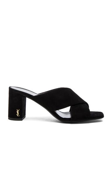 Saint Laurent Loulou Suede Mules in Black