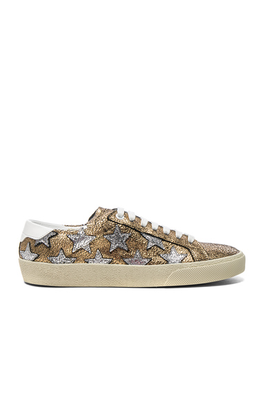 Saint Laurent Leather Court Classic Star Sneakers in Metallics