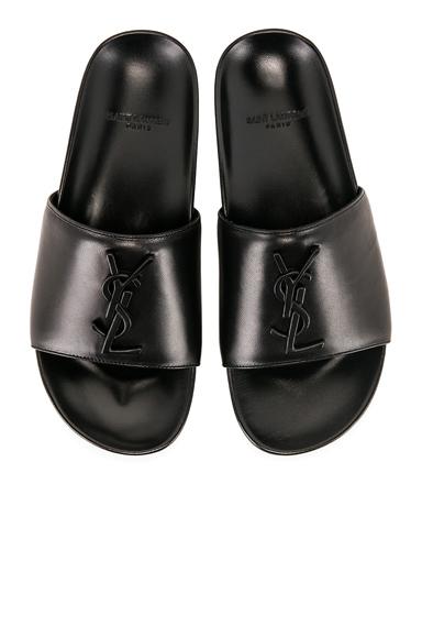 Saint Laurent Joan Leather Slides in Black
