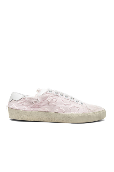 Saint Laurent Court Classic Star Leather Sneakers in Pink