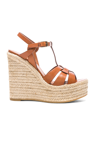 Saint Laurent Leather Espadrille Wedges in Brown