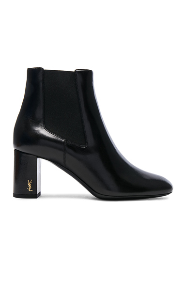 Saint Laurent Leather Loulou Pin Boots in Black