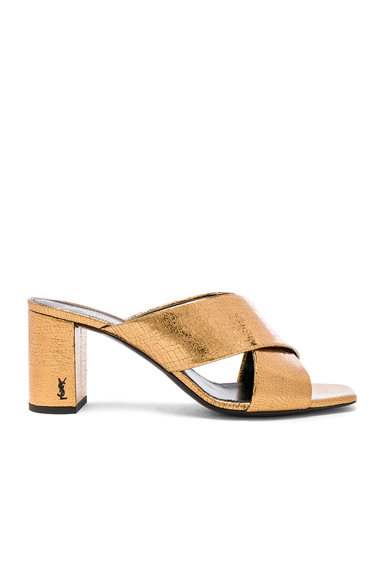 Saint Laurent Cracked Metallic Leather Loulou Pin Mules in Brown, Metallics