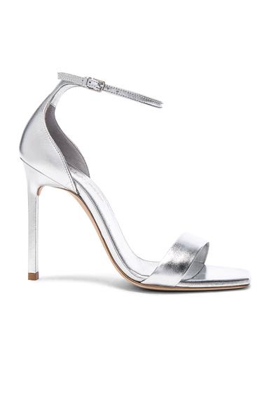 Saint Laurent Metallic Leather Amber Ankle Strap Heels in Metallics