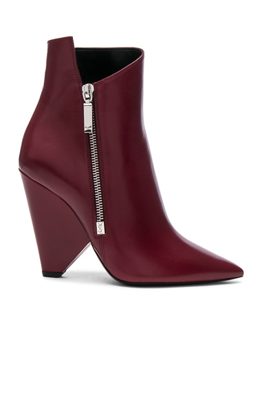 Saint Laurent Leather Niki Booties in Red
