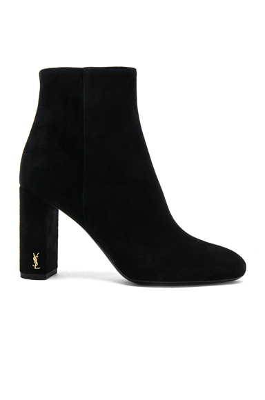Saint Laurent Suede Loulou Pin Boots in Black