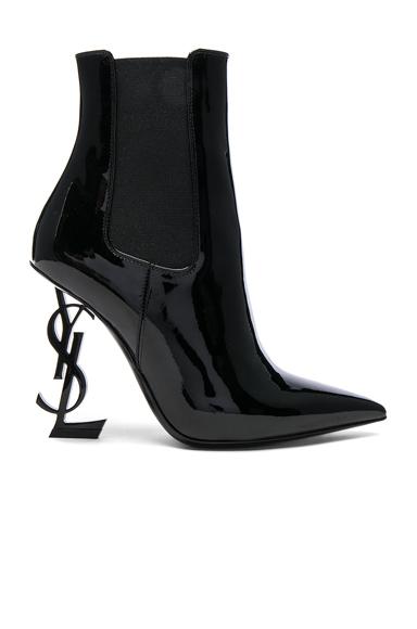 Saint Laurent Patent Opium Monogram Heeled Boots in Black