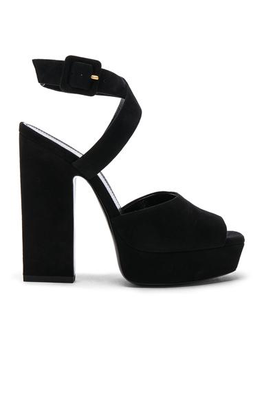 Saint Laurent Suede Debbie Platform Cross Strap Sandals in Black