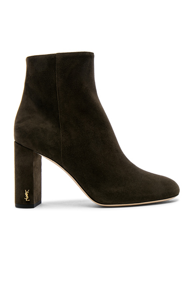 Saint Laurent Suede Loulou Pin Boots in Green